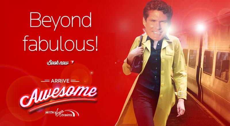 krispy krush, Virgin Trains, Arrive Awesome, single traveller banner