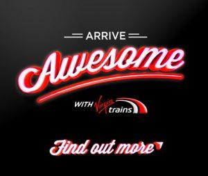 krispykrush, virgin trains, arrive awesome