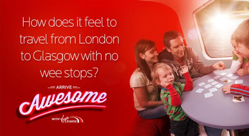 krispy krush, Virgin Trains, Arrive Awesome, family banner