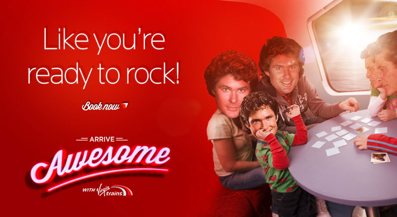 krispy krush, Virgin Trains, Arrive Awesome, family banner